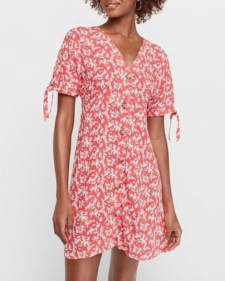 Express Floral Tie Sleeve Button Front Shift Dress