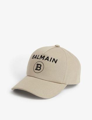 Balmain Logo cotton canvas baseball cap