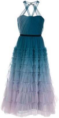 Marchesa Notte Halter Neck Ombre Textured Dress