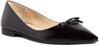 Prada Bow Logo Pointed Toe Flat