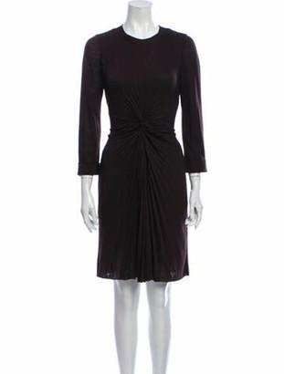 Louis Vuitton Crew Neck Knee-Length Dress Brown