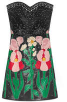 Gucci Leather flower intarsia strapless dress