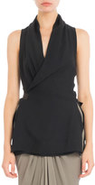 Rick Owens Side-Tie Sleeveless Wrap Blouse, Black
