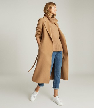 Reiss LEAH WOOL BLEND LONGLINE OVERCOAT Camel