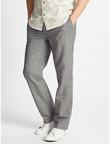 John Lewis Mooring Puppytooth Linen Cotton Trousers, Grey