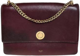 Celine Dark Burgundy Leather Flap Chain Shoulder Bag