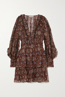 Ulla Johnson Brisa Ruffled Tiered Printed Fil Coupe Silk-blend Mini Dress - Black