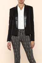 Art & Co. Faux Leather Collar Blazer