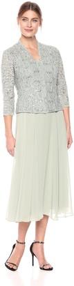Alex Evenings Women's Two-Piece Tea Length Mock Jacket Dress