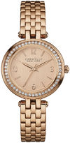 CARAVELLE, NEW YORK Caravelle New York Womens Crystal-Accent Rose-Tone Stainless Steel Watch 44L175
