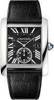 Cartier Tank Mc Stainless Steel And Leather Watch