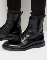 Zign Shoes Leather Military Lace Up Boots