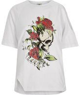 River Island Womens White skull print asymmetric shoulder T-shirt
