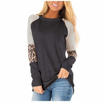 Jiegorge Women's Blouse Fashion Womens Casual Loose O-Neck Stitching Leopard Printed Long Sleeve T-Shirt