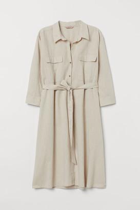 H&M H&M+ Linen-blend Shirt Dress