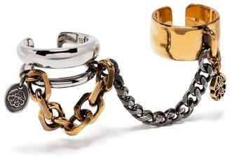 Alexander McQueen Chain Two-Finger Ring