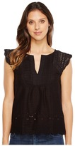 Lucky Brand Embroidered Flutter Top Women's Clothing