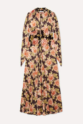 Paco Rabanne Floral-print Velvet And Satin Maxi Dress - Blush