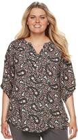 Croft & Barrow Plus Size Smocked Printed Top