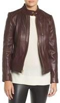 MICHAEL Michael Kors Women's Band Collar Front Zip Leather Jacket