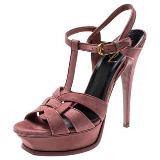 Saint Laurent Tribute Pink Suede Sandals