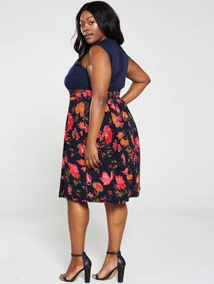 AX Paris Curve 2-In-1 Floral Print Skirt Dress - Navy
