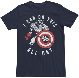 Marvel Men's Captain America Do This All Day Vintage Portrait Tee