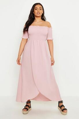 boohoo Plus Off Shoulder Maxi Dress