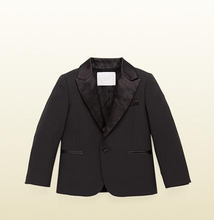 Gucci Kid's Black Wool Tuxedo Jacket