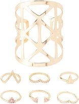 Charlotte Russe Caged Cuff Bracelet & Rings Set
