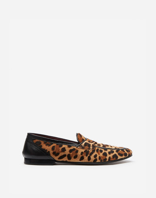 Dolce & Gabbana Leopard Print Slippers With Pony Hair Effect