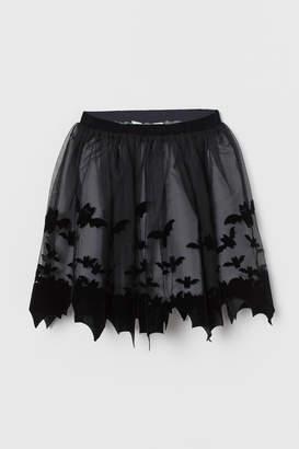 H&M Flock-print Tulle Skirt - Black