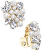 Charter Club Gold-Tone Crystal & Imitation Pearl Clip-On Button Earrings, Only at Macy's