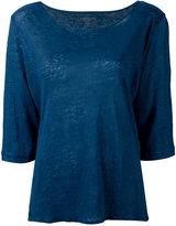Majestic Filatures cropped sleeve T-shirt - women - Linen/Flax - I