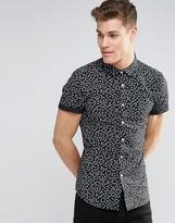 Asos Skinny Shirt In Leaf Print With Short Sleeves