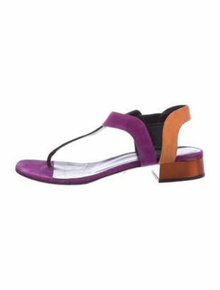 Gucci Suede Colorblock Pattern T-Strap Sandals Purple