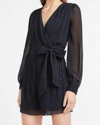 Express Clip Dot Pleated Wrap Front Romper