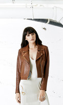 Again Collection - Bowie Lamb Skin Brown Leather Jacket in Brown