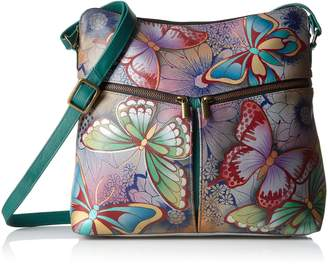 Anuschka Anna By Anna by Women's Genuine Leather Large Hobo Handbag | Zip-Top Multi-Compartment Tall Organizer | Butterfly Paradise