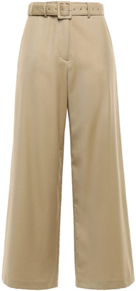 ANNA QUAN Max Belted Twill Wide-leg Pants