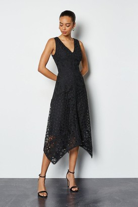 Karen Millen Sleeveless Panelled Lace Midi Dress