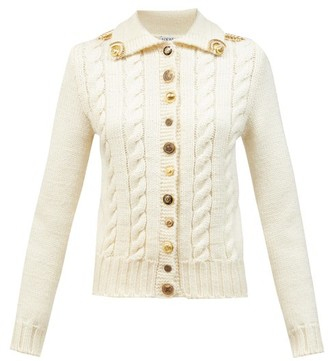Loewe Anagram-button Cable-knit Wool Cardigan - Ivory