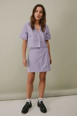 Kickers Lilac Check Cropped Shirt - Assorted XS at Urban Outfitters