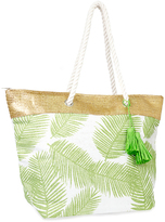 Magid Green Feather Stamp Tassel-Trim Tote