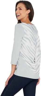 Lisa Rinna Collection 3/4 Sleeve Knit Top w/ Printed Chiffon Back