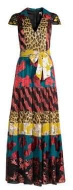 Alice + Olivia Women's Della Short Sleeve Maxi Dress - Daisy Teal Cherry - Size 0