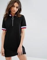 Daisy Street Mini Dress With Half Zip And Sports Rib