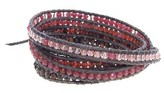 Chan Luu Ruby Mix Wrap Bracelet on Brown Leather