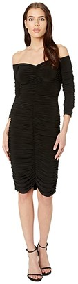Norma Kamali KAMALIKULTURE by Off-Shoulder Slinky To Knee (Black) Women's Clothing
