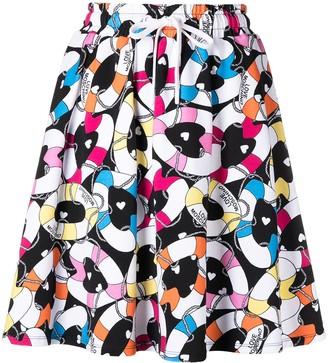 Love Moschino Heart-Print Drawstring Skirt